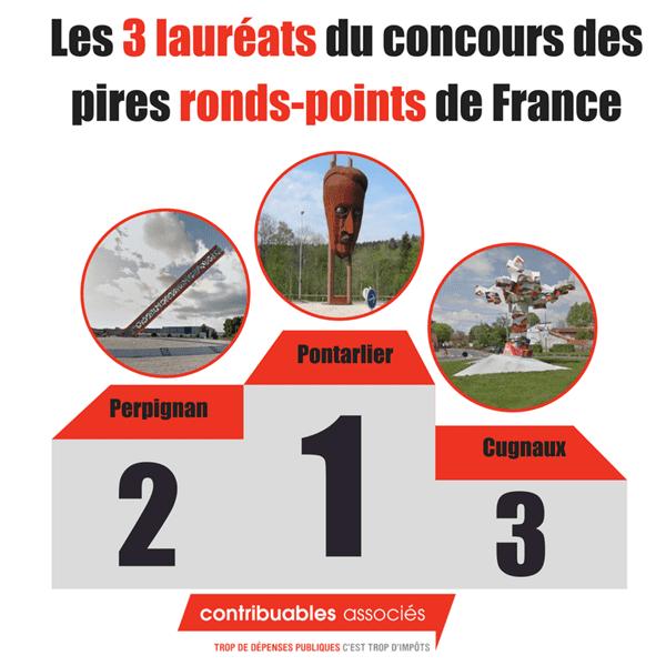 Les trois lauréats du concours des pires ronds-points de France - 2018