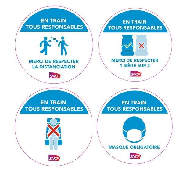 Ces pastilles apparaîtront dans les gares et les trains aquitains.
