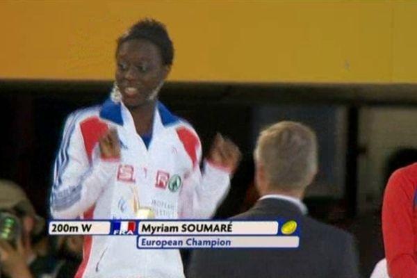 Barcelone 2010 : Myriam Soumaré, médaille d'or sur 200m aux Championnats d'Europe d'athlétisme.
