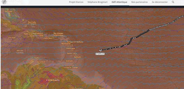 La carte du défi Atlantique le 16 avril à 07h00.