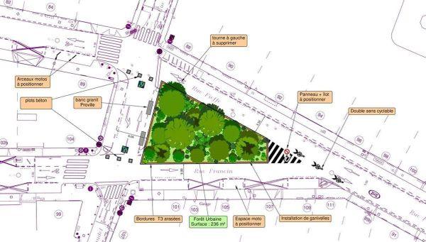 Les plans du projet de micro-forêt rue Fieffé à Bordeaux.