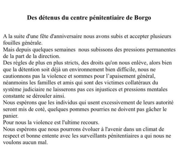 Les détenus de la prison de Borgo s'expliquent dans une lettre que s'est procurée France 3 Corse.