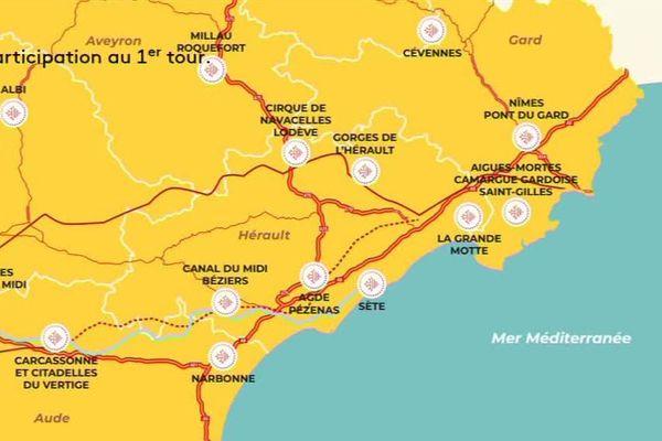 La carte des 40 grands sites de la région Occitanie, publiée par le journal régional dans son numéro d'été, ne mentionne pas la ville de Montpellier.