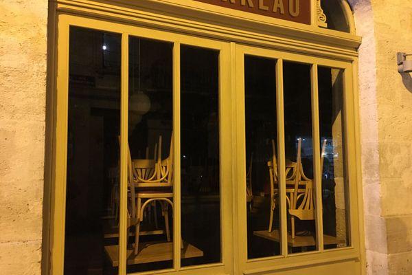 Les restaurants toujours fermés en janvier 2021. Ils sont à l'arrêt depuis le 30 octobre, comme cet établissement du centre-ville de Bordeaux.