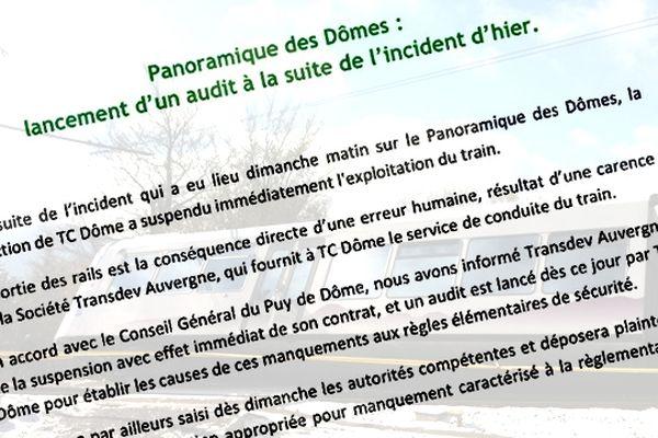 Au lendemain du déraillement du Panoramique des Dômes, TC Dôme et le Conseil Général du Puy-de-Dôme ont décidé de suspendre le contrat de Transdev, la société qui fournit le service de conduite du train.