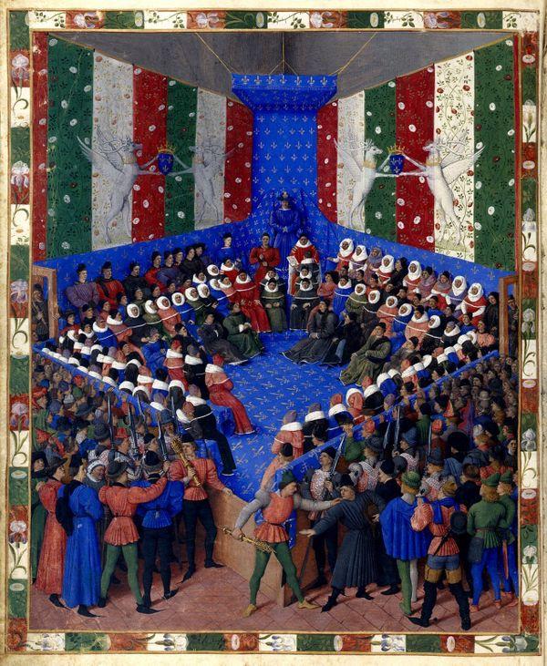 """Le Parlement du roi, peint dans """"Le Lit de justice de Vendôme Boccace"""", attribué au peintre Jean Fouquet (1459-1460)"""
