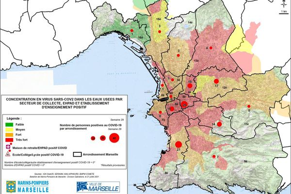 Carte du taux de Coronavirus dans les eaux usées, au 21 juillet 2021.