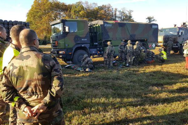 Le 511e régiment du train en entrainement à La Courtine ce jeudi 26 octobre 2017.