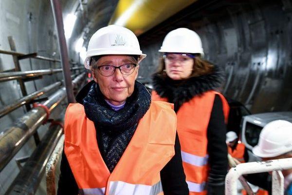 La ministre des Transport sur le chantier du futur tunnel Lyon-Turin le 1er février 2019.