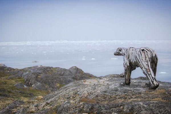 L'ours polaire de Pascal Bejeannin face la banquise du Groenland qui disparaît.
