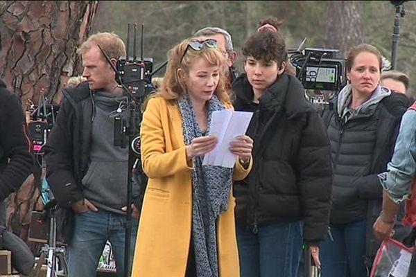 Julie Depardieu sur le tournage d'Alexandra Ehle à Biscarosse
