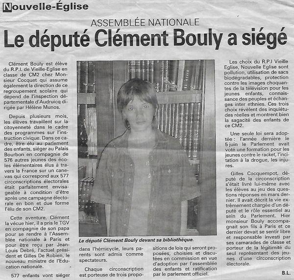 L'article de La Voix du Nord relatant l'expérience de Clément Bouly à l'Assemblée nationale.