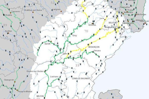 Passage en vigilance jaune des tronçons de l'Allan et du Doubs en amont de la Loue.
