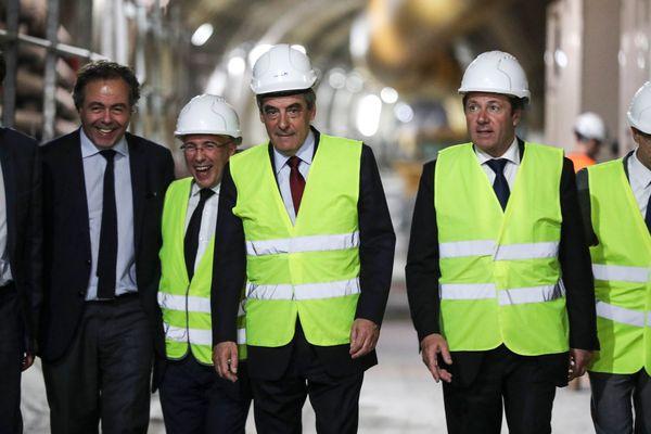 François Fillon (au centre) accompagné d'Eric Ciotti et de Christian Estrosi (à droite), à Nice, le 17 avril 2017