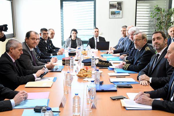 Christophe Castaner, ministre de l'intérieur, rencontre les autorités policières et judiciaires de l'Hérault à l'hôtel de police de Montpellier. 4/02/19