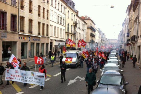 A Nancy, jeudi 28 avril 2016, ils étaient 2.000 selon la police et 10.000 selon les syndicats à manifester contre la Loi Travail.