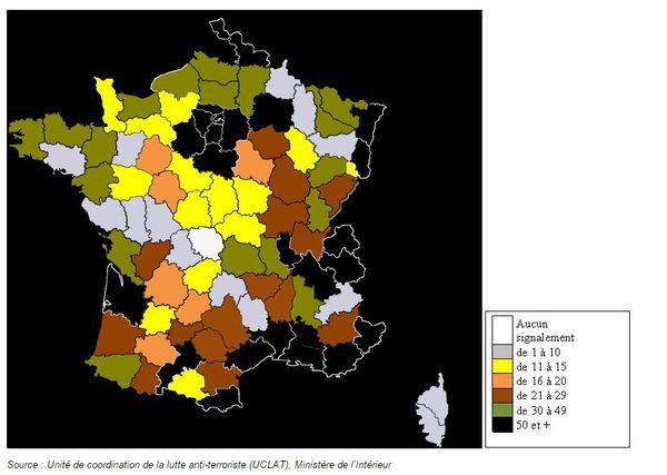 Radicalisations dans les départements français (Document officiel - Ministère de l'Intérieur)