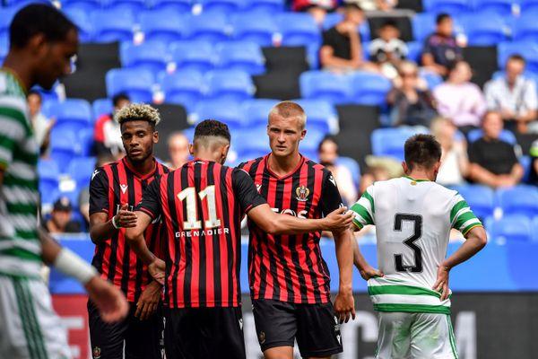LOGC Nice lors du match amical contre le Glasgow Celtic FC, le 16 juilet 2020