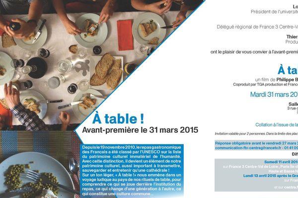 """Invitation spéciale avant-première """"A table!"""" à Tours"""