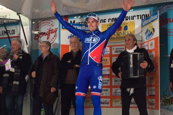 Étoile de Bessèges - 1ère étape : victoire d'Arnaud Démare au sprint, ce mercredi entre Bellegarde et Beaucaire dans le Gard (158 km) - 1 février 2017.