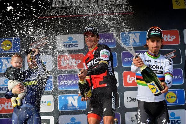 Greg van Avermaet et Peter Sagan sur le podium de Gand-Wevelgem.