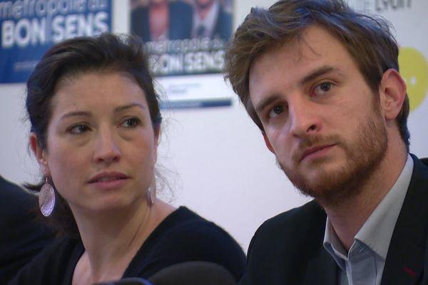 Andréa Kotarac, ex-insoumis, candidat RN à la présidence de la Métropole, au côté d'Agnès Marion, candidate RN dans la circonscription Lyon Sud-Est