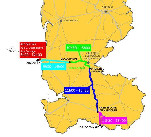 Carte de neutralisation des routes du Sud Manche pour la 3 eme etape Tour de France 2016 (cliquez sur l'image pour l'agrandir)