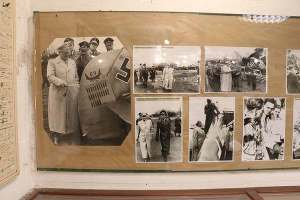 Mur de photos au Musée Mémoire 39/45 Calais montrant la visite d'Hermann Göring à Audembert en décembre 1941.