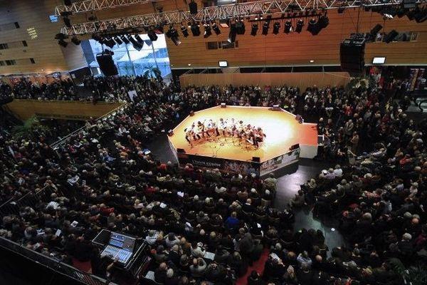 Le hall du palais des congrès ce samedi