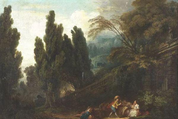 """Elément du tableau """"Le jeu de la palette"""" de Fragonard (Tajan) - archives"""