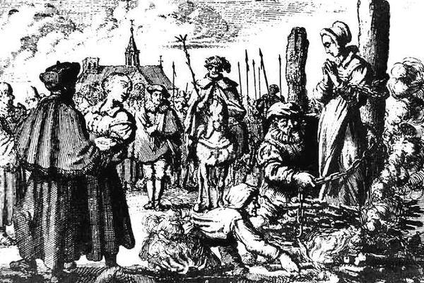 Le bûcher d'une femme exécutée pour sorcellerie, gravure du XVIe siècle