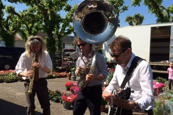 Les musiciens du trio French Quarter au marché de Bonneuil-Matours dans la Vienne.