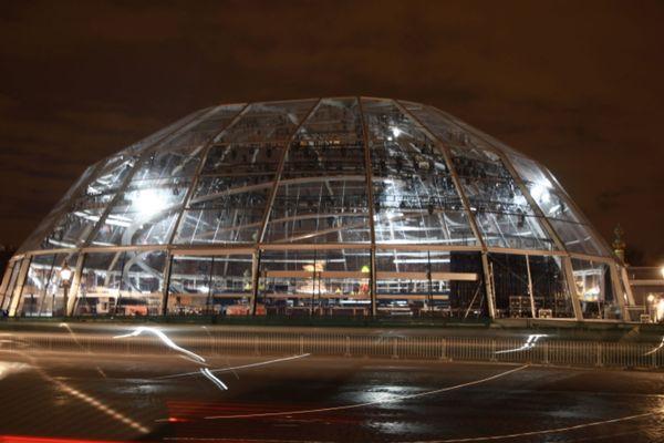 La structure qui devait accueillir le plateau du Téléthon 2018, sur la place de la Concorde, à Paris.