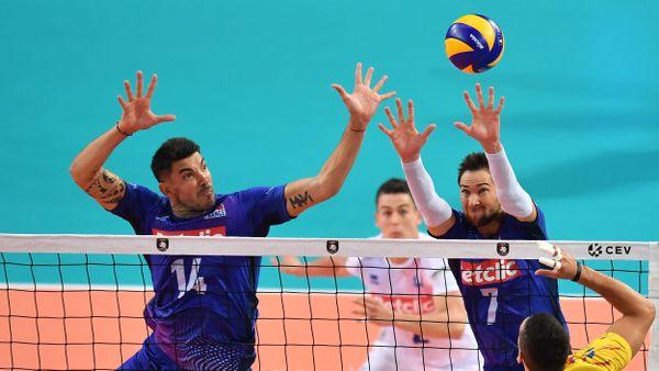 Nicolas Le Goff et Kevin Tillie face à la Roumanie - Championnat d'Europe de volley - Montpellier le 12/09/2019
