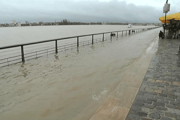 Inondations sur les quais de Bordeaux en février 2016