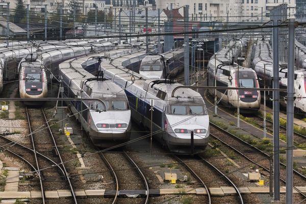 Trains à l'arrêt en gare