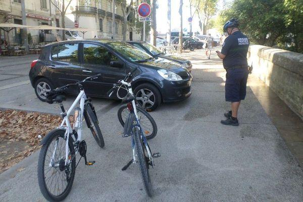 La brigade patrouille 4 fois par jour dans la ville pour sécuriser les pistes cyclables - août 2020.