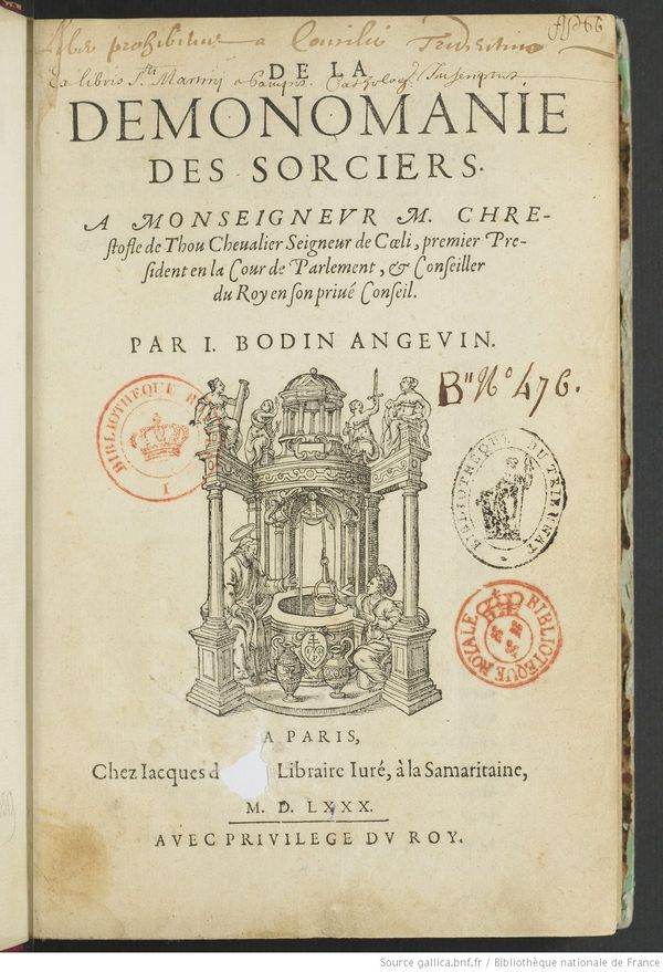 De la Démonomanie des sorciers, par Jean Bodin.