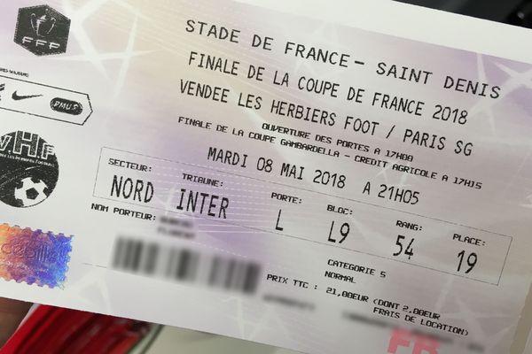 Un billet pour la finale de coupe de France Les Herbiers-PSG