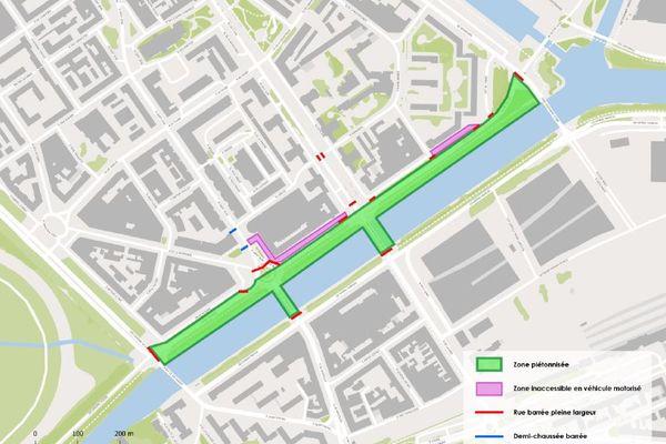 Le plan de circulation à Caen chaque dernier dimanche du mois, du 30 mai au 31 octobre