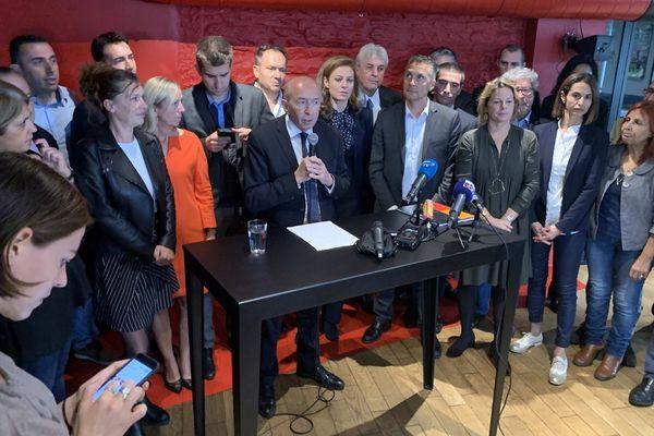 Gérard Collomb mardi 15 octobre au cours de la conférence de presse après son investiture officielle par LREM comme tête de liste pour l'élection à la Métropole de Lyon
