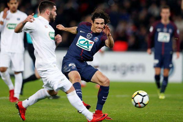 Les Guingampais n'ont pas résisté aux assauts des Parisiens et de l'Uruguayen Edinson Cavani en 16e de finale de Coupe de France au Parc des Princes - 24/01/2018
