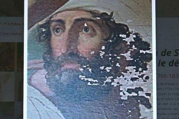 """Une restauration vitale mais onéreuse : il faut 30 000€ pour pouvoir restaurer """"la prédication de Saint Jean Baptiste dans le désert"""", une oeuvre majeure de FX Fabre."""