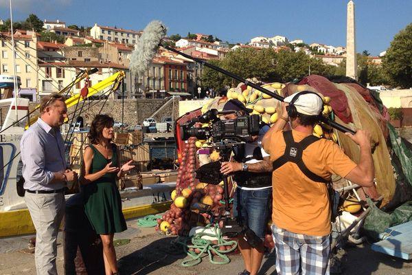 Tournage de l'émission Enquêtes de Région sur le littoral méditerranéen en septembre 2016.