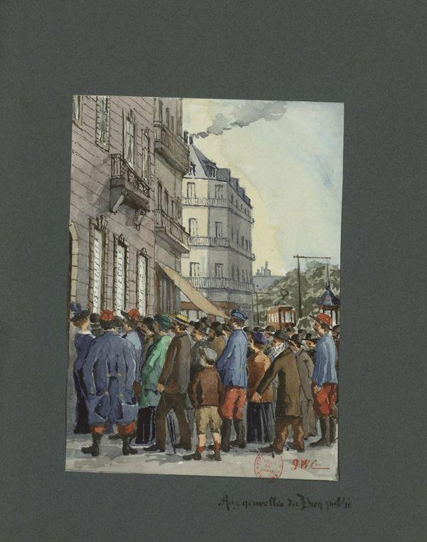 """Le Lieutenant Colonel Guillaume Cullard écrit : Les journaux de Paris n'arrivent toujours pas. On ne sait ce que la Préfecture permet d'afficher aux fenêtres des journaux locaux """"le Progrès"""" et le """"Bien Public"""". Un fait qu'il a illustré par cette aquarelle."""