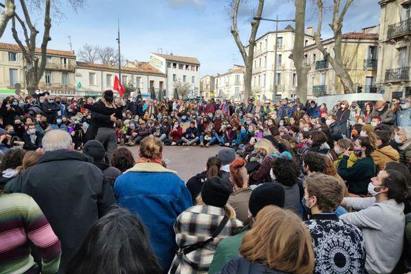 Montpellier - Des artistes ont réalisé des performances lors de la mobilisation - 23.01.21