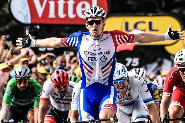 Arnaud Démare a signé le troisième succès français de cette édition, après les deux victoires de Julian Alaphilippe