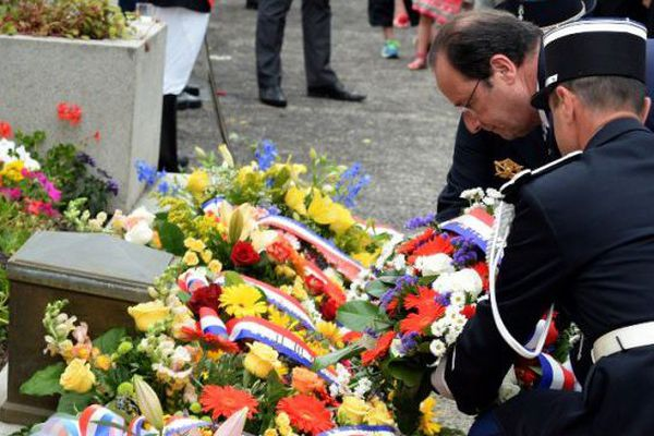 François Hollande à la cérémonie commémorative du massacre de Tulle (2014)