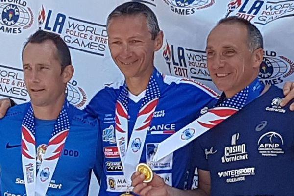 Sébastien Dodain, Stéphane Langlois, Christophe Mathieu médaillés d'Or aux Jeux Mondiaux Police Pompiers 2017 à Los Angeles