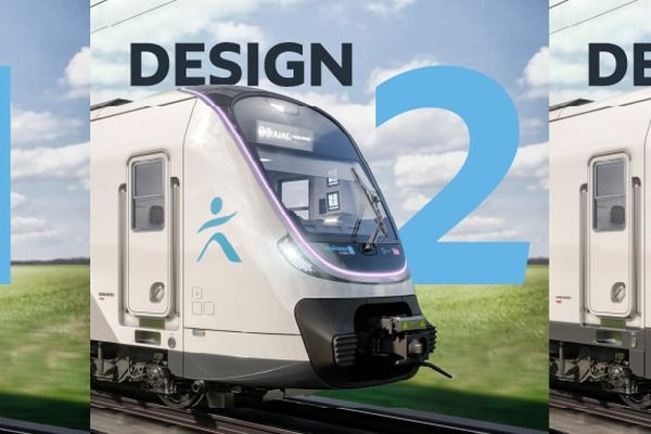 """Trois propositions du """"visage"""" du futur RER B, dont les premiers exemplaires devraient arriver sur les rails en 2025."""